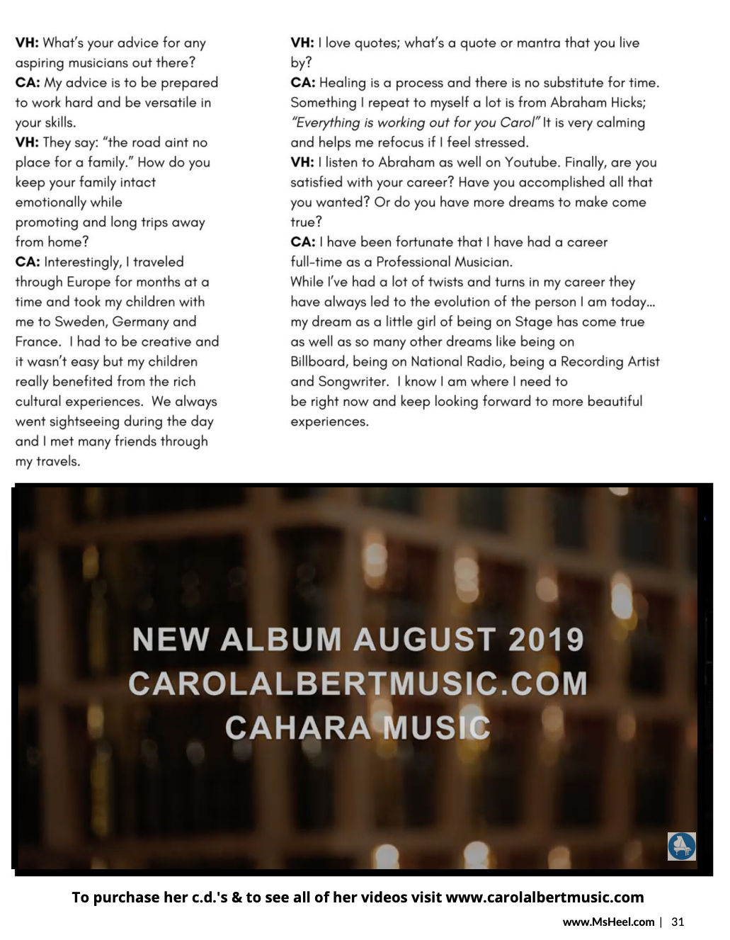 Ms Heel Magazine Interviews Carol Albert