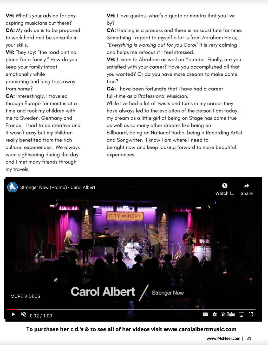 Carol Albert Ms Heel Interview